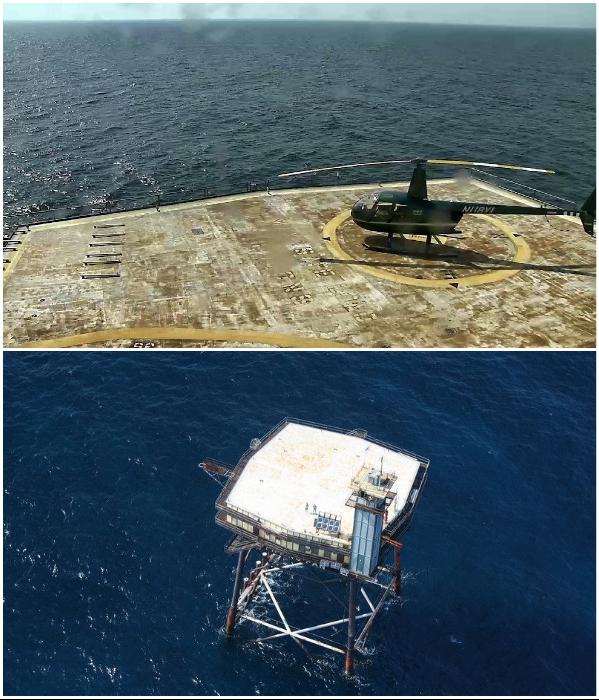 Огромную металлическую площадку среди Атлантического океана местные жители называют сковородкой («The Frying Pan Tower», США). | Фото: atlasobscura.com/ explore.org.