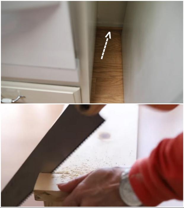 Если имеется плинтус, то лишний материал на задней торцевой стороне нужно срезать. | Фото: youtube.com © EngineerYourSpace.