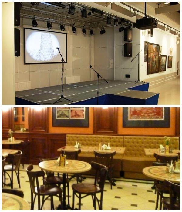 В выставочном комплексе создали небольшой кинозал и организовали парижское кафе (Монумент «Рабочий и колхозница»).