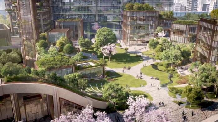 Ансамбль, спроектированный архитекторами Heatherwick Studio, будет расположен на площади 24 тыс. м&#178 (визуализация Toranomon-Azabudai). | Фото: youtube.com/Toranomon-Azabudai Project Summary Movie.