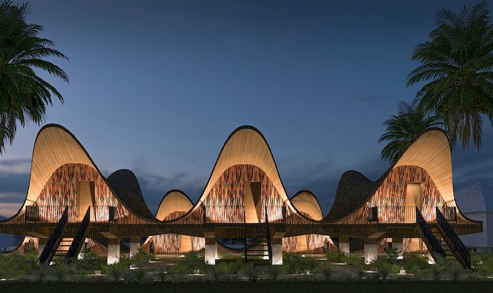 Волнообразные крыши украсят отельный комплекс и позволят обеспечить тень со всех сторон резиденций (концепт Bihing Tahik Resort).