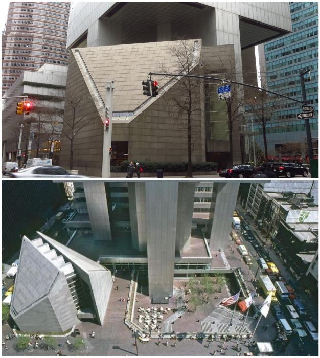 Религиозное сооружение легко поместилось под бетонными колоннами высотой в 30,5 м Сiticorp Center. (Манхэттен, США).