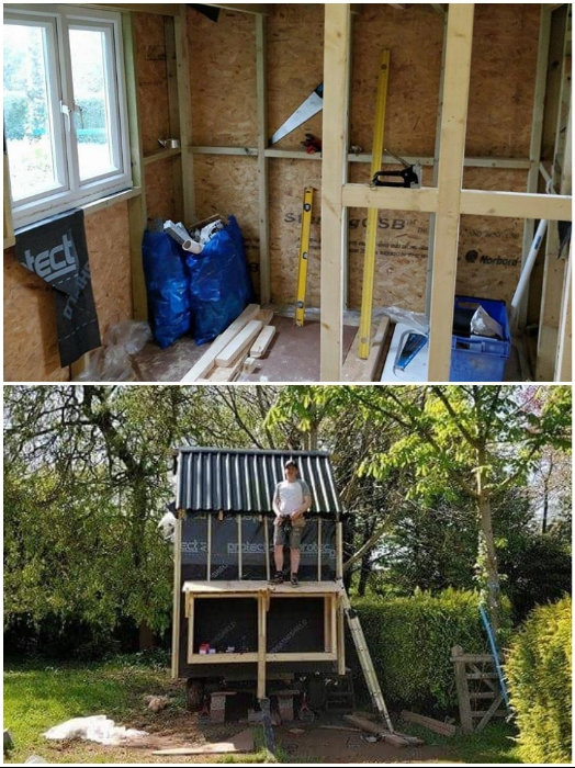 Чтобы по максимуму сэкономить, Том все работы по строительству и благоустройству делал сам. | Фото: instagram.com/ © Toms Tiny Home Project.