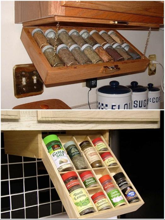 Потайные ящики под навесными шкафами – идеальное место для мелких предметов, которые должны быть всегда под рукой. | Фото: kuhniclub.ru/ cpykami.ru.