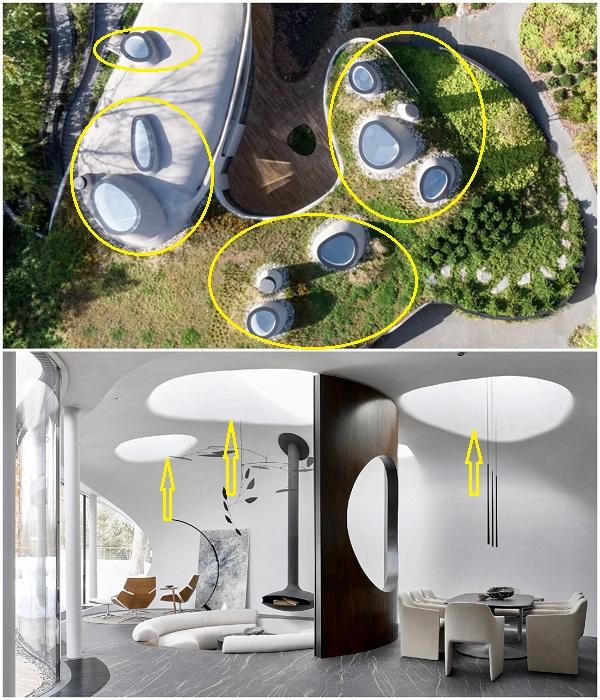 Световые люки на крыше особняка расположены так, что во все времена года и суток солнечный свет проникает в помещение («House in the landscape», Подмосковье). | Фото: arquitecturaydiseno.es.