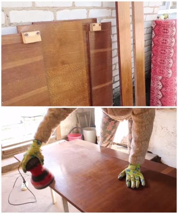 Для начала кровать надо полностью разобрать и зашкурить каждую деталь со всех сторон.   Фото: youtube.com/ Bubenitta.