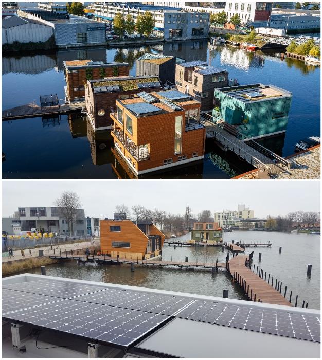 Каждый плавучий особняк оснащен солнечными панелями и системой «умный дом».