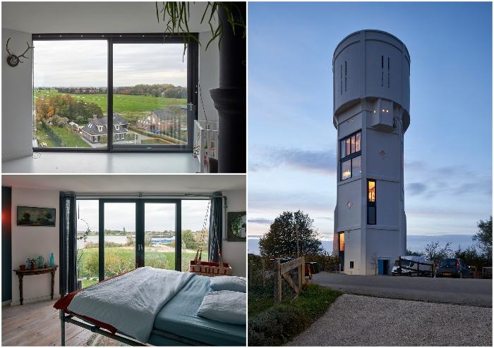 Огромные окна от пола до пола дают возможность любоваться колоритным голландским пейзажем (Watertower Nieuw Lekkerland, Нидерланды).