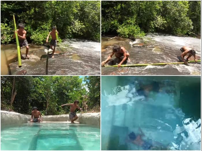 После высыхания своеобразного раствора бассейн заполнили водой и даже немного отдохнули на «кроватях». | Фото: youtube.com/ © Jungle Survival.