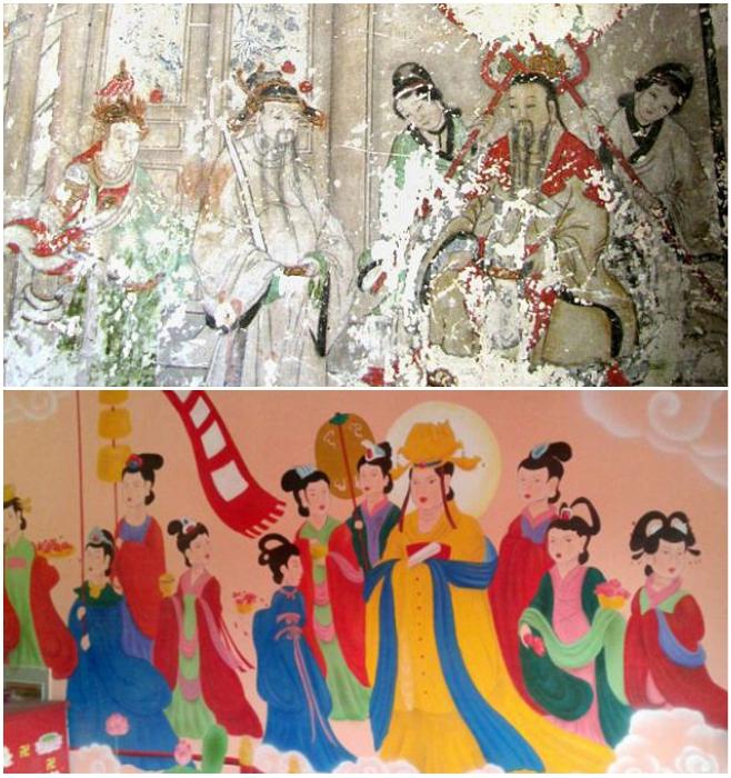 Многовековая фреска в храмовом комплексе Юнчжи превратилась в мультяшных героев. | Фото: dailymail.co.uk.