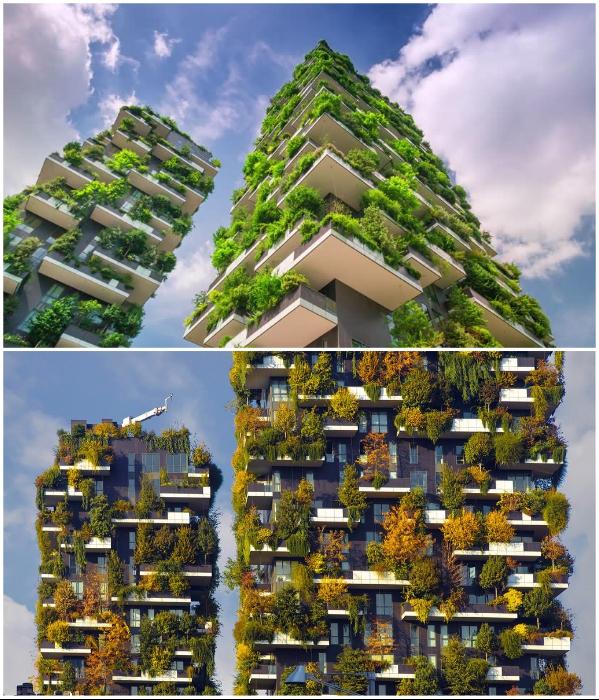 «Живой» фасад жилого комплекса «Bosco Verticale» чуть ли не каждый день меняет свой «наряд». | Фото: muz4in.net/shutterstock.com.