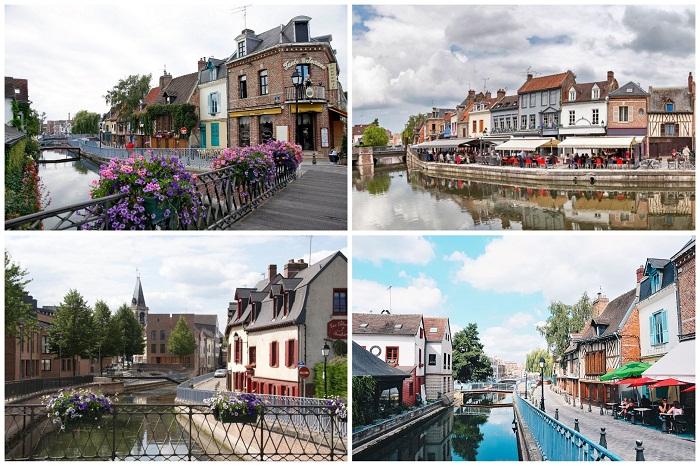 Сеть старинных каналов обрамляет город Амьен (Франция).