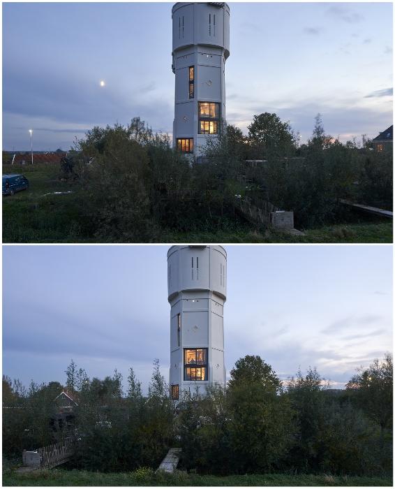 Братья облагородили и территорию вокруг башни, и построили собственные мостики через реку (Watertower Nieuw Lekkerland, Нидерланды).