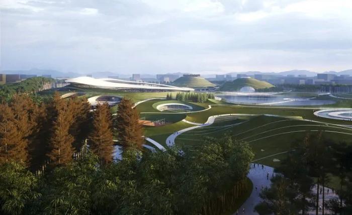 «Quzhou Sports Park» станет естественным продолжением городского ландшафта, соединив историческую часть Цюйчжоу и природную зону. | Фото: pragmatika.media/ © MAD Architects.