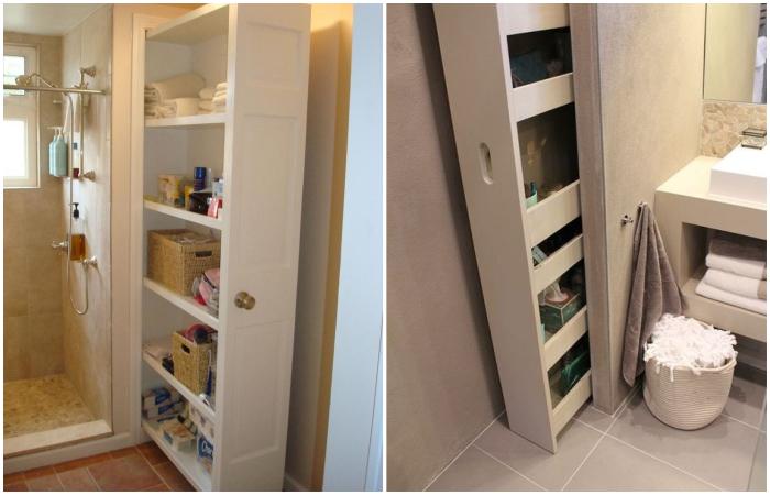 Даже в очень узкой нише можно сделать конструкцию из выдвижных/выкатных полок. | Фото: pinterest.at/ cpykami.ru.