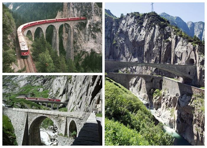 Дьявольский мост и тоннель в Альпах (Швейцария).