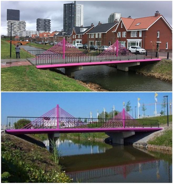 Симпатичный фиолетовый мост замыкает коллекцию переправ, воссозданных голландским дизайнером Робином Стамом и командой специалистов (Spijkenisse, Голландия). | Фото: bugaga.ru/ m.fotostrana.ru.