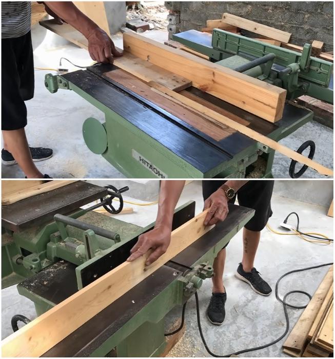 Каждую деталь поддона подгоняют по размеру и тщательно шлифуют со всех сторон. | Фото: youtube.com/ © Woodworking Tools.