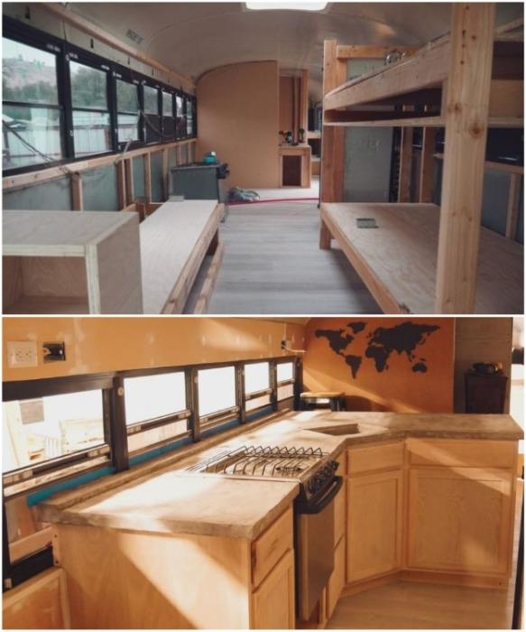Вся внутренняя отделка и мебельные модули сделаны из натурального дерева (Oliver). | Фото: instagram.com/ sincewewokeup.