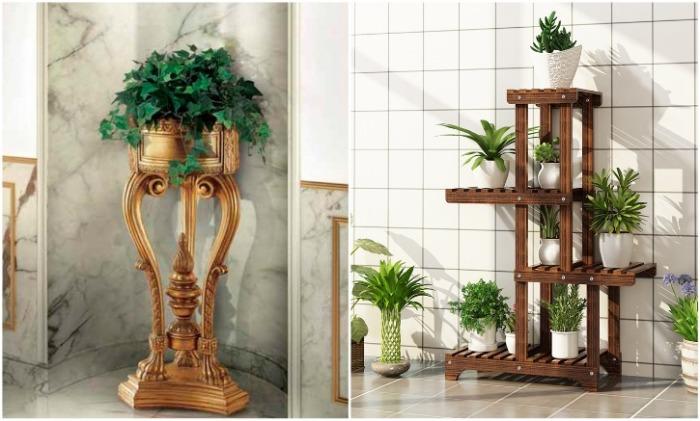 Подставки для цветов сделанные из дерева органично впишутся в любой интерьер, нужно лишь правильно выбрать модель. | Фото: pinterest.com./ italistyle.ru.