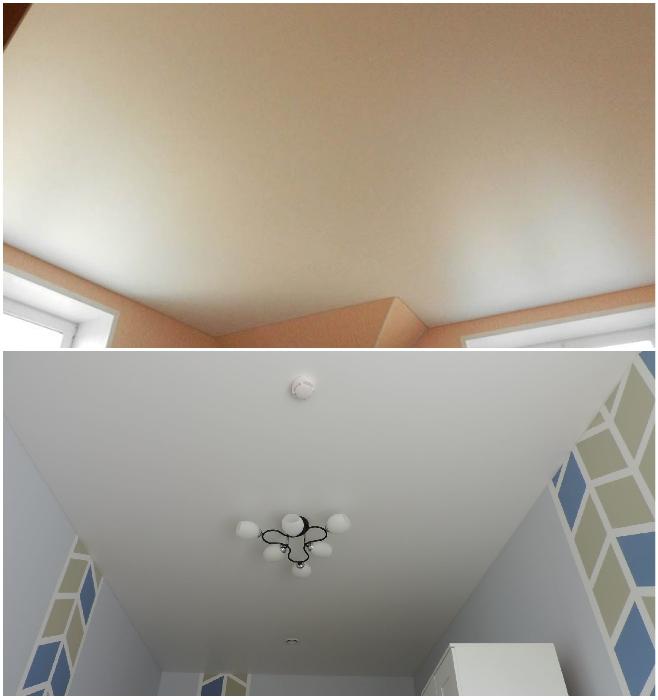Потолок лучше сделать матовым и лаконичным. | Фото: natyazhnoy-potolok.su/ folien-orenburg.ru.