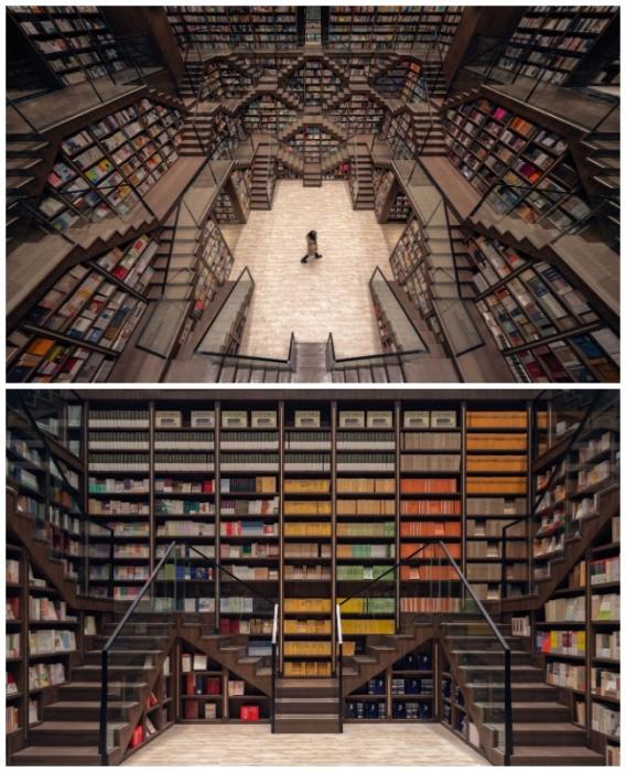 Огромное количество полок, имеющих внутреннее расширение, и ступеней образуют уникальную атмосферу во всем книжном магазине. | Фото: wordpress.com.