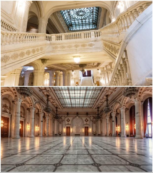 В некоторых залах созданы прозрачные потолки с восхитительной росписью (Palatul Parlamentului, Румыния).