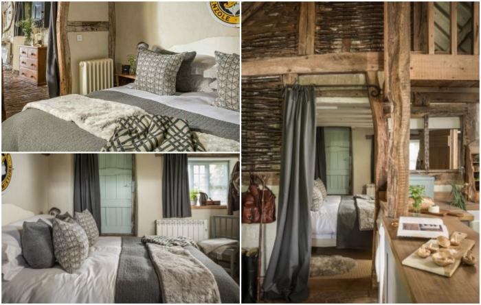 Уютную спальню спрятали за перегородкой и плотной ширмой («Wishbone Cottage», Великобритания). | Фото: uniquehomestays.com.