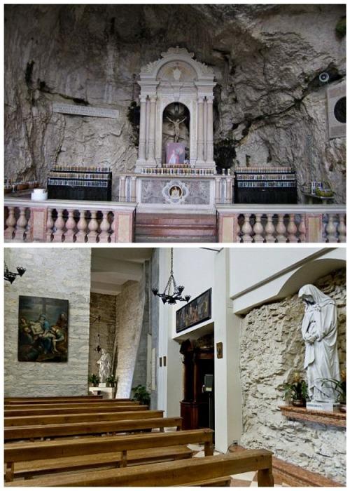 Внутреннее убранство Святилища Богоматери Короны (Италия). | Фото: hotelmenapace.it.