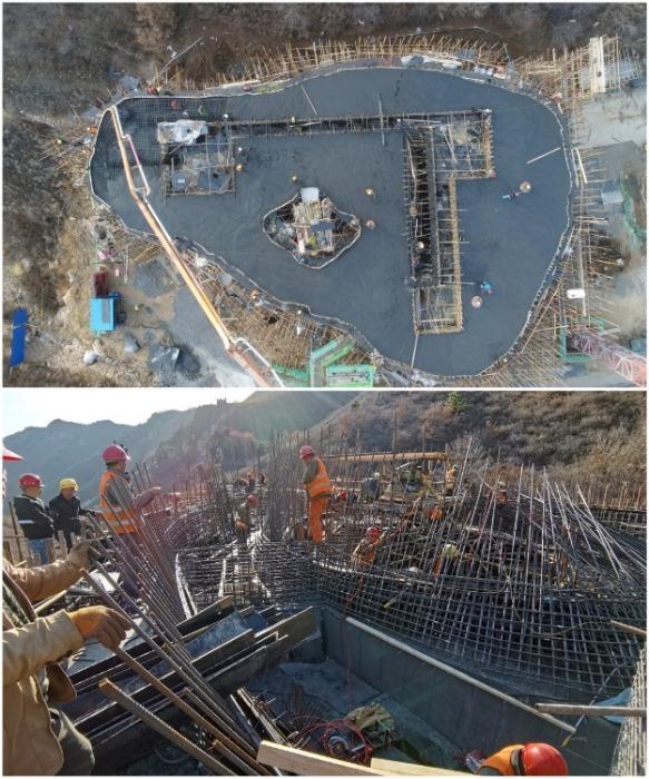 При заливке фундамента и стен бригада строителей работала круглосуточно («Chapel of Sound», Китай. | Фото: newatlas.com.