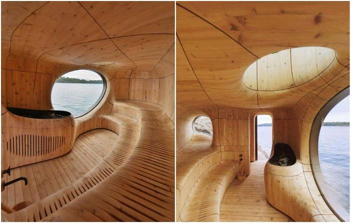 Скульптурное пространство внутри сауны вырезано из цельной древесины кедра («Grotto», Канада). / Фото: theawesomedaily.com.