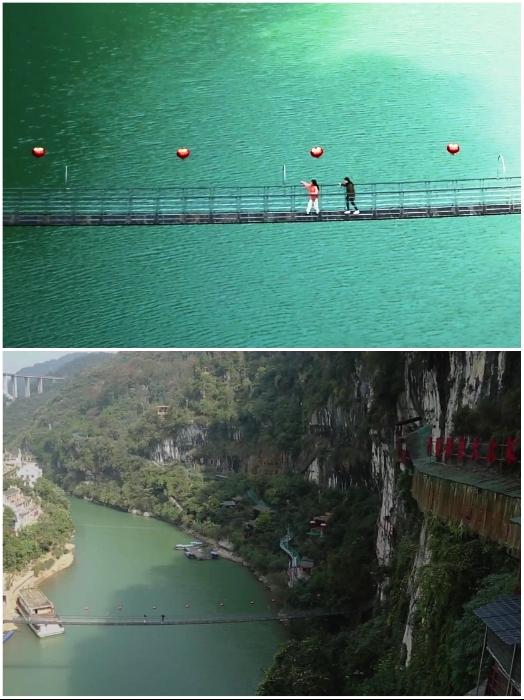 Для того, чтобы добраться до необычного ресторана, нужно перейти через висячий мост «Sanyou Cave Bridge». | Фото: youtube.com/ © dailyWOWvideo.