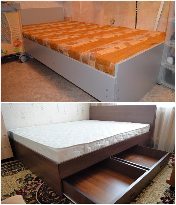Из плит МДФ или ЛДСП можно сделать кровать своими руками. | Фото: drive2.ru/ krrot.net.