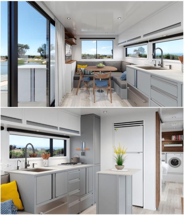 Просторной кухне и гостиной-столовой кемпера могут позавидовать владельцы малогабаритных квартир (кемпер LV 2020). | Фото: curbed.com.