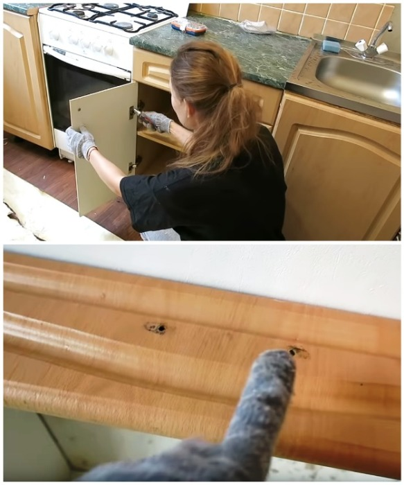 Перед снятием пленки нужно поснимать дверцы со шкафов и убрать все ручки.   Фото: youtube.com/ Anna_Studio.