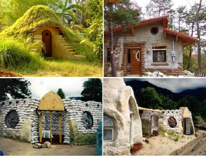 Оригинальные дома, созданные из мешков с землей.