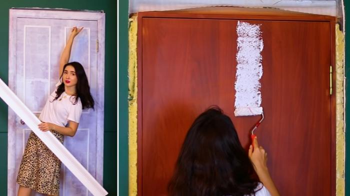 Перед покраской, подготовленную поверхность двери грунтуют и клеят молдинг. | Фото: youtube.com/ © Fancy smth.