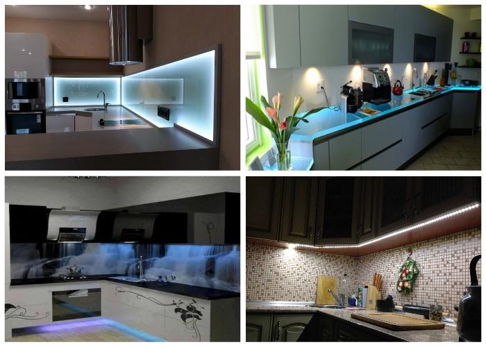 Светодиодное освещение способно привнести в дизайн кухни особую атмосферу.