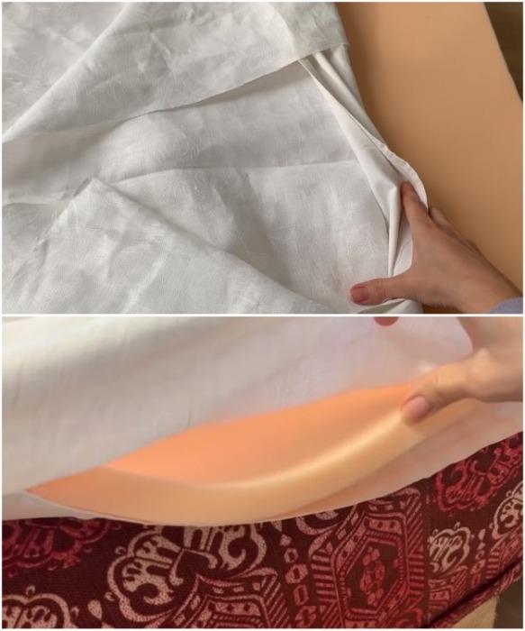 Обновить матрас можно с помощью наматрасника. | Фото: youtube.com/ Bubenitta.