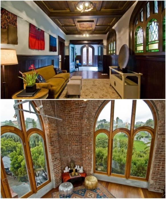 Восстановленные витражи и старинные окна стали главным украшением необычных апартаментов (Сан-Франциско, США). | Фото: designrulz.com.