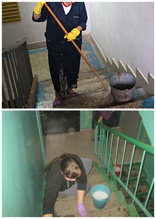 Лестницу с крашенными углами легче мыть.