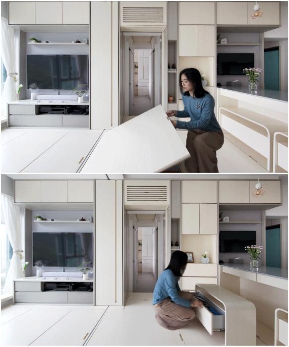 Многофункциональные предметы  мебели и пространство под подиумом имеют скрытые системы хранения (Smart Zendo). | Фото: sim-plex-design.com/ © Sim-Plex.