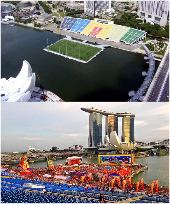Арена плавучего стадиона состоит из 15 соединенных элементов, которые закреплены на 6 плавучих пилонах (Сингапур). | Фото: orangesmile.com/ sportsvit.com.ua.