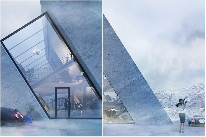 Дом в виде логотипа Adidas довольно органично впишется и в природный ландшафт, и в картинку города (визуализация «Trihouse»).   Фото: boredpanda.com/ © Wamhouse.