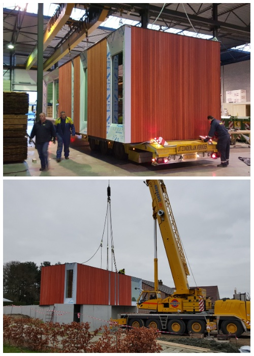 Модули «Skilpod» доставляют в собранном виде и устанавливают на фундамент или просто на площадку (Бельгия).
