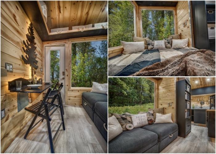 Гостиная выполняет сразу несколько функций: зоны отдыха, столовой, кинозала и спальни. | Фото: backcountrytinyhomes.com.
