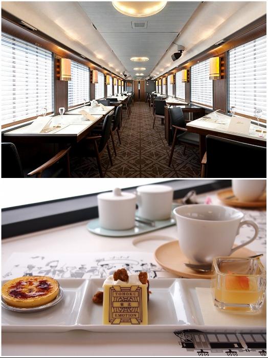 К услугам гостей туристического поезда «Эмоции Тохоку» вагон-ресторан, оформленный в традиционном японском стиле. | Фото: tabelog.com/ intentionallies.co.jp.