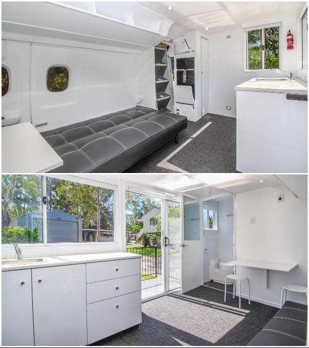 В интерьере крошечного дома остались элементы настоящего авиалайнера (Aero Tiny House, Австралия).