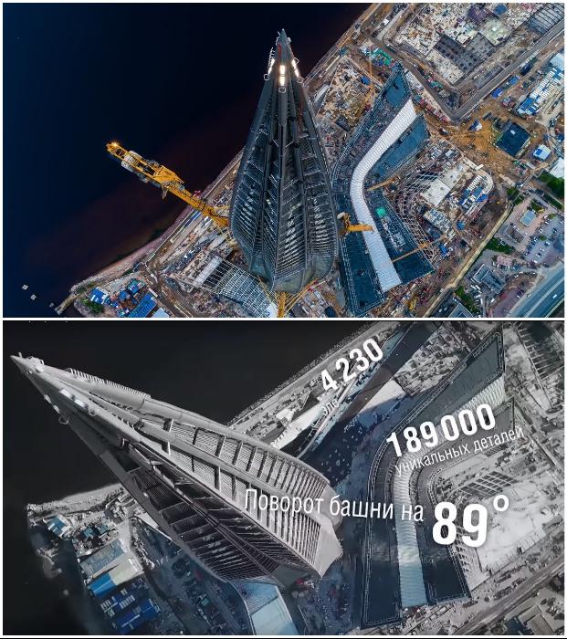 Поворот башни почти на 90 градусов вызывает ассоциацию с пылающей верхушкой факела («Лахта-центр», Санкт-Петербург).