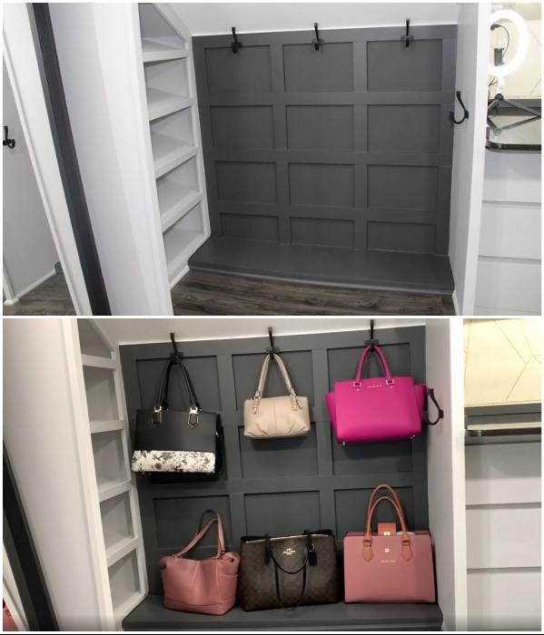 В гардеробной выделили уголок для хранения дамских сумочек. | Фото: instagram.com/ © remodelinganddesign.
